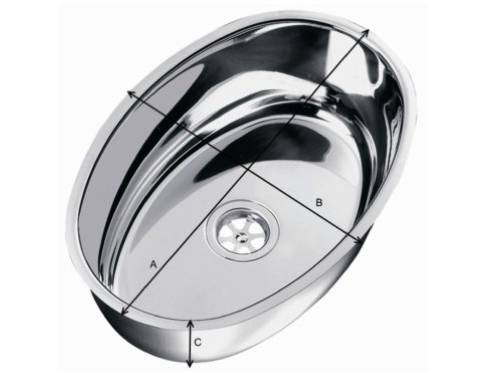 Plastimo Stainless Steel Oval Sink - 360 x 240 x 130mm
