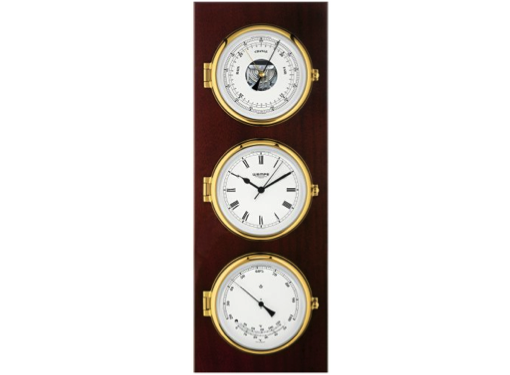 Wempe Elegance Series Quartz Clock with Barometer and Thermometer/Hygrometer in Mahogany Wood
