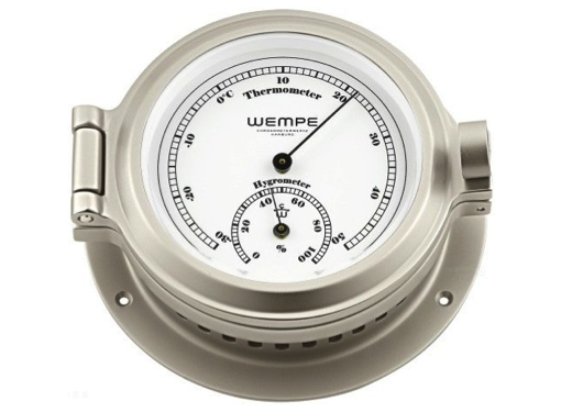 Wempe Nautik Series Thermometer/Hygrometer 120mm - Matt Nickel Plated White Face