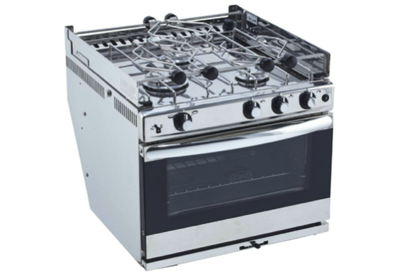 Eno Bretagne 3 - 3-Burner Galley Range in Stainless Steel with Handle, Stainless Steel Oven, Grill and Ignition