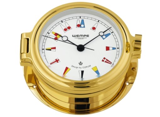 Wempe Regatta Series Porthole Clock with Flag Themed Clock Face 140mm - Gold Plated Case
