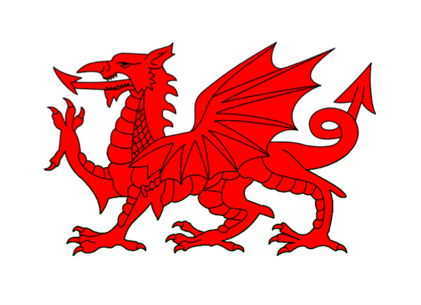 Welsh Dragon Courtesy Flag Polyester 45 x 30cm