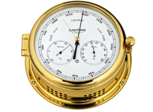 Wempe Admiral II Series Thermometer/Hygrometer Combination 185mm - Brass Case