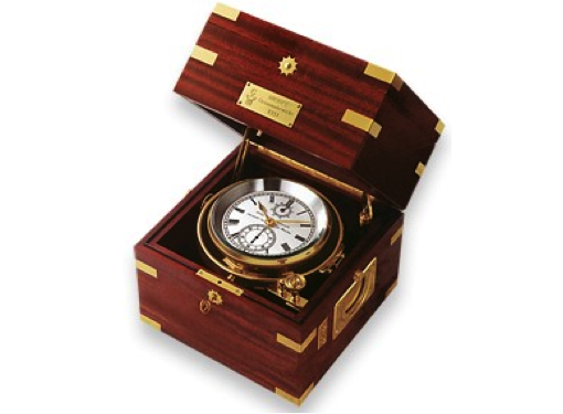Wempe Unified Chronometer with Manufactory Calibre 5 - Brass - Mahogany Case with Brass Inlays
