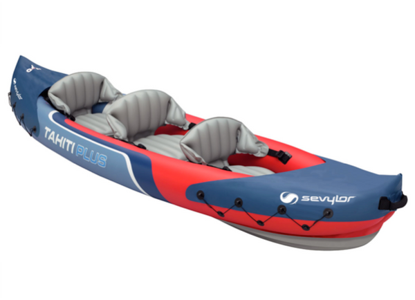 Sevylor Tahiti Plus Inflatable Kayak with 2 x Kayak Paddles, Footpump & 2 x Baltic Canoe Buoyancy Aids - 2 + 1 Persons - 2019 Model