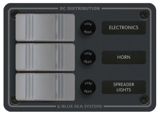 Blue Sea Water Resistant Fuse Panel 3 Position 12v Dc