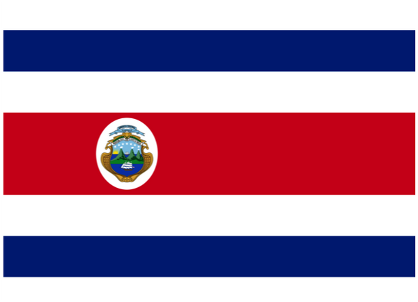 Costa Rica Courtesy Flag Polyester 45 x 30cms