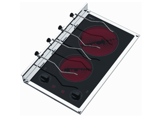 Techimpex Crystal 2 110 - 230V  Double Burner Glass Ceramic Hob with Frame, Knobs & Panholders