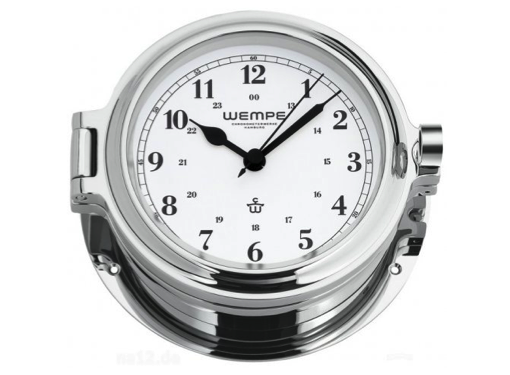 Wempe Cup Series Porthole Clock 140mm - Arabic Numerals  - Chrome Case