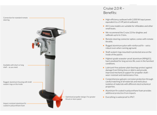 Torqeedo Cruise 2.0 R Electric Outboard with Remote Control