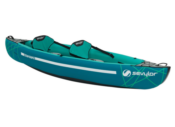 Sevylor Waterton Inflatable Kayak with 2 x Paddles, Stirrup Pump & 2 x Baltic Canoe Buoyancy Aids - New 2019 Model
