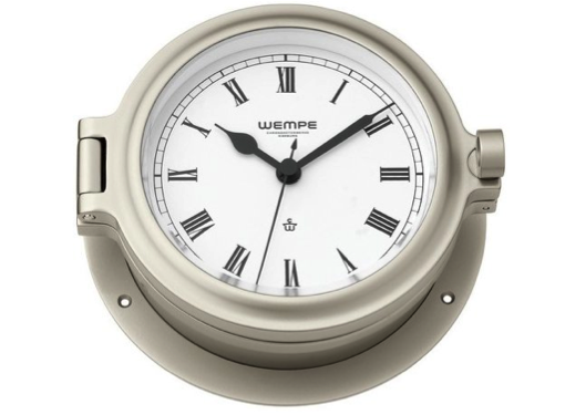Wempe Cup Series Porthole Clock 140mm - Roman Numerals  - Nickel Plated Case