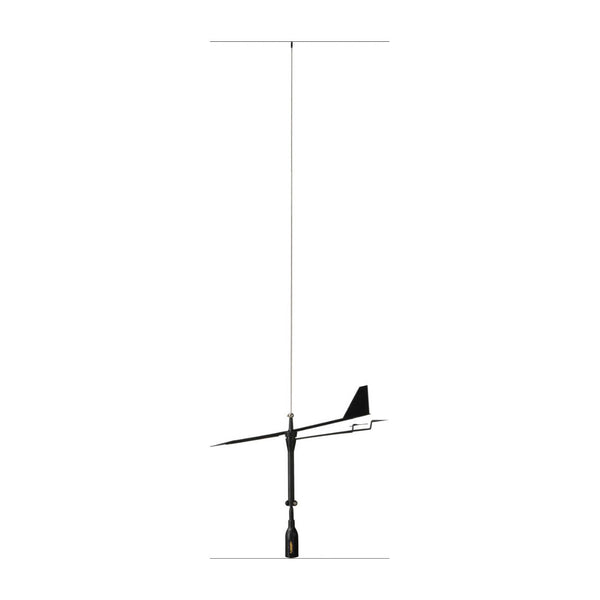 Supergain Black Swan VHF Antenna - S/S Whip With Wind Indicator - 3Db  20M Cable With Bracket