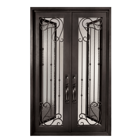 Armonia Classic Full Lite Painted Heavy Bronze Decorative Wrought Iron Prehung Front Door