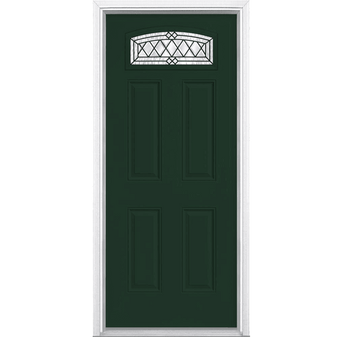 Halifax Camber Fan Lite Painted Smooth Fiberglass Prehung Front Door with Brickmold in Vinyl Frame