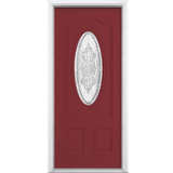 New Haven Three Quarter Oval Lite Painted Smooth Fiberglass Prehung Front Door with Brickmold