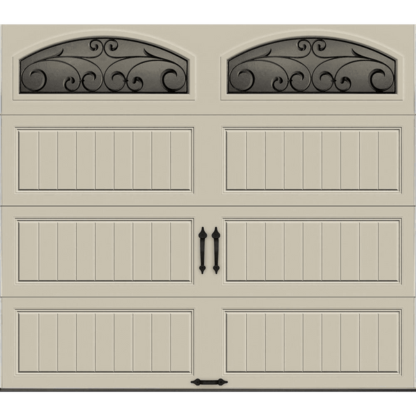 R Value Intellicore Insulated Sandstone Garage Door With Wrought Iron Window
