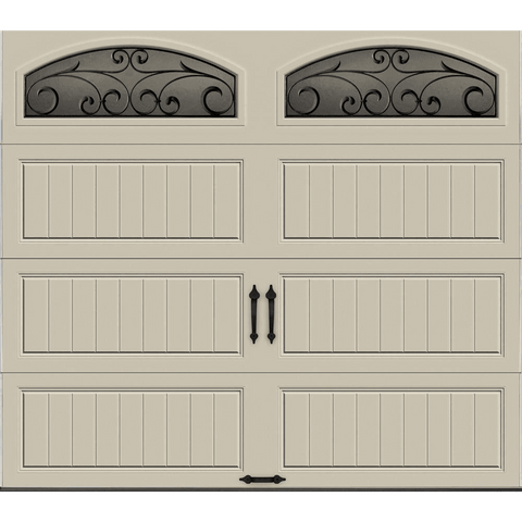 R-Value Intellicore Insulated Sandstone Garage Door with Wrought Iron Window