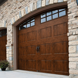 R-Value Intellicore Insulated Ultra-Grain Walnut Garage Door with Arch Window