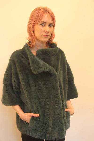 Green Mink Long Hair Jacket