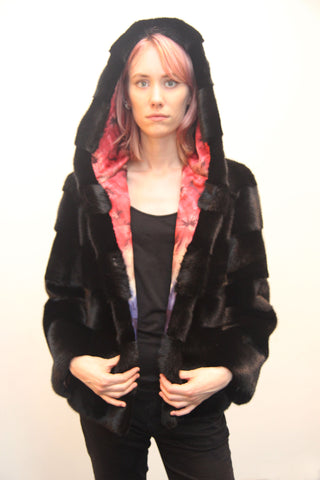 Two Way Mink Jacket with Hood