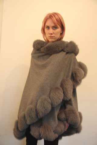 Grey Cashmere Cape with Twist Fox Trim