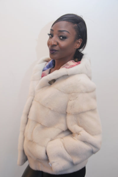 Pearl Mink Horizontal Jacket with Hood