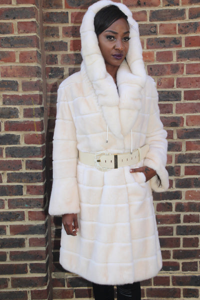 Horizontal Pearl Mink Coat with Hood