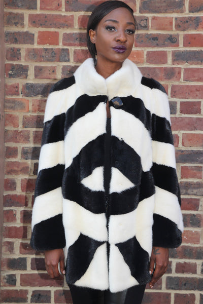 Black and White Geometric Mink Jacket