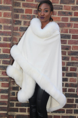 White Cashmere Cape with Fox Trim