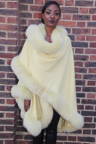 Yellow Cashmere Cape with Fox Trim