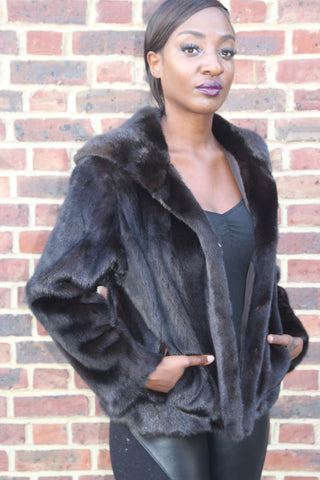Dark Brown Short Mink Jacket with Hood