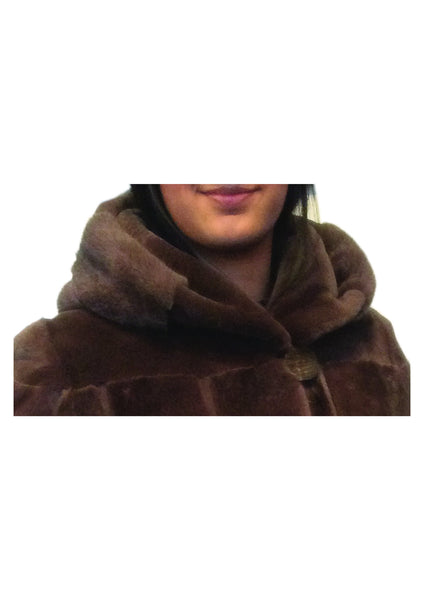 Sheared Mink and Long Haired Mink Hooded Coat
