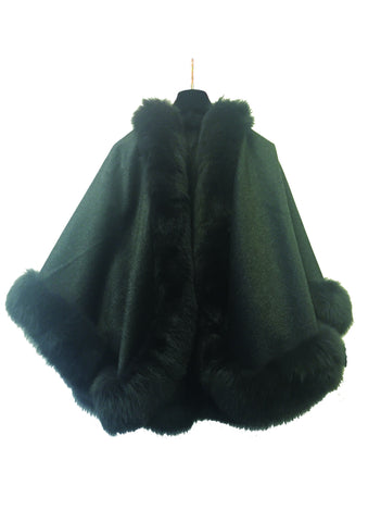Cashmere cape, fox fur trim