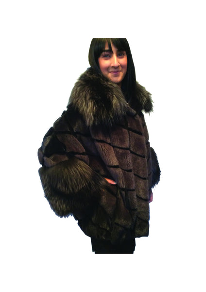 Sheared mink and silver fox jacket