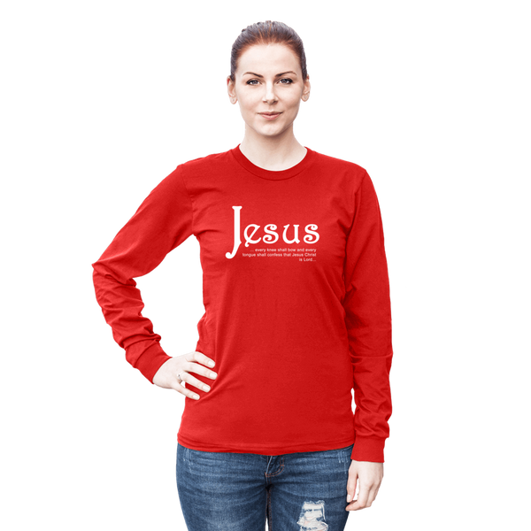 Long Sleeve Unisex - Jesus - Every Knee T-Shirt