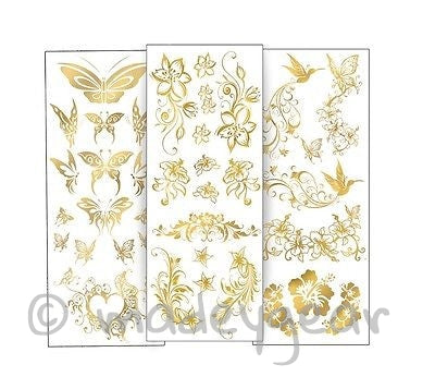 G04-Temporary Flash Gold Jewelry Tattoo- 3 Sheets With Over 35 Different Tattoos
