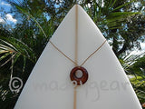 Handcrafted Polynesian Koa Wood Circle Pendant Necklace