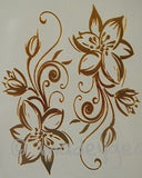 GT12-Temporary Flash Gold Jewelry Tattoo- Wide Flower Flair