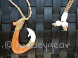 Handcrafted Polynesian Koa Wood and Bovine Cow Bone Fish Hook Pendant Necklace