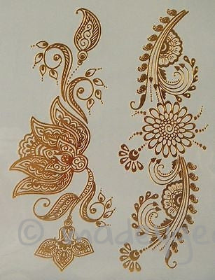 GT08--Temporary Flash Gold Jewelry Tattoo- Flower Henna Style