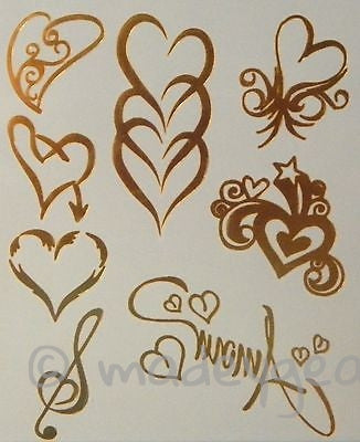 GT13-Temporary Flash Gold Jewelry Tattoo- Hearts