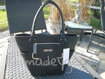 Kenneth Cole REACTION Tipsy Pebble Shopper Large Tote Handbag Black NWT