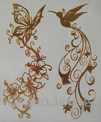 GT06--Temporary Flash Gold Jewelry Tattoo- Butterfly Hummingbird Flair