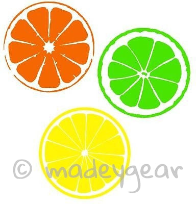 Car Window Vinyl Decal Sticker- Fruit Slices Orange Lemon Lime