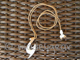 Handcrafted Polynesian Bovine Cow Bone Fish Hook Necklace w/Maori etched detail