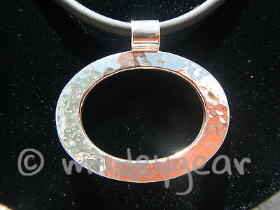 Hammered Oval Circle Pendant and earrings- Sterling Silver .925 Mexico