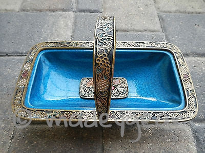1960's Blue Enameled Brass Carved Judaic Passover Basket Israel Hebrew
