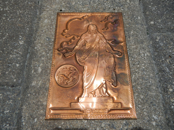 Rare Vintage Kopper Kard Engraved Copper Postcard~ The Christus