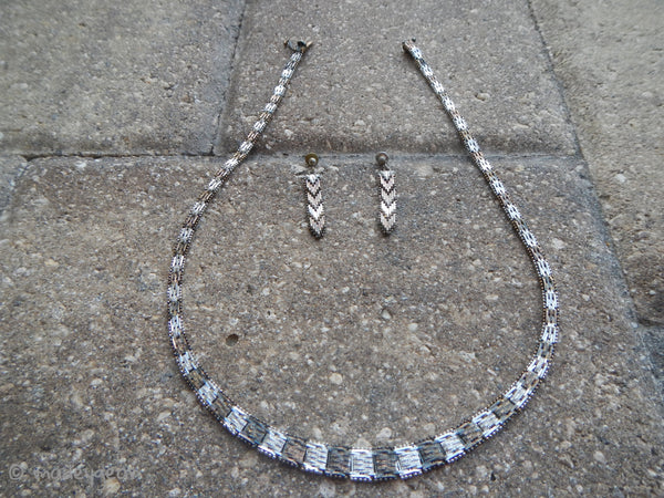 Vintage Vicenza Italy 925 Sterling Silver Necklace Earring Set
